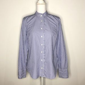 J. Crew Size 6 Blue White Stripe Button Down Shirt